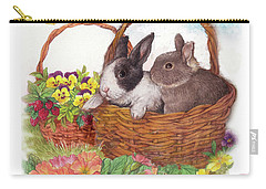 Spring Garden With Bunnies, Butterfly Carry-all Pouch