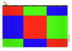 Carry-all Pouch featuring the digital art Squares Of Red And Blue And Green by Bill Swartwout Fine Art Photography