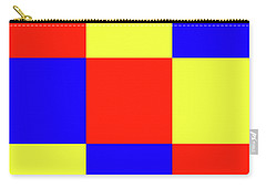 Carry-all Pouch featuring the digital art Squares Of Red And Yellow And Blue by Bill Swartwout Fine Art Photography
