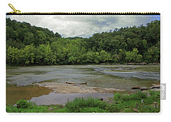 Carry-all Pouch featuring the photograph Stormy Evening At The River by Angela Murdock