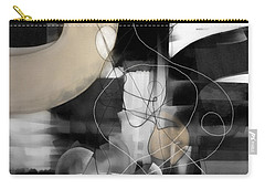 Sunday Morning Large Modern Black And White Abstract Painting Carry-all Pouch