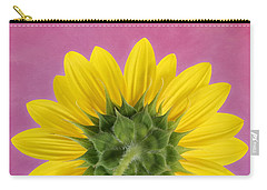 Carry-all Pouch featuring the photograph Sunflower On Pink - Botanical Art By Debi Dalio by Debi Dalio