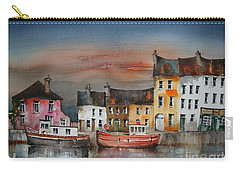 Carry-all Pouch featuring the painting Sunset On  Cloondra, Co. Longford by Val Byrne