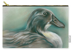 Carry-all Pouch featuring the pastel Swedish Blue Duck by MM Anderson