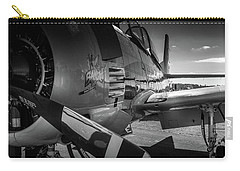 Carry-all Pouch featuring the photograph T-28b Trojan In Bw by Doug Camara