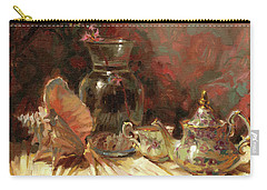 Carry-all Pouch featuring the painting Tea By The Sea by Steve Henderson