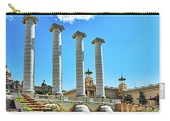 Carry-all Pouch featuring the photograph The Four Columns And The National Art Museum In Barcelona by Eduardo Jose Accorinti
