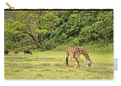 Carry-all Pouch featuring the photograph The Giraffe And The Cape Buffalo by Kay Brewer