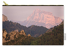 Carry-all Pouch featuring the photograph The Last Of The Light At Pena Montanesa by Stephen Taylor