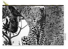Carry-all Pouch featuring the photograph The Leopard Sits In Wait In Black And White by Kay Brewer