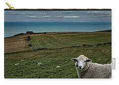 Carry-all Pouch featuring the photograph The Sheep On The Clifftop by Chris Lord