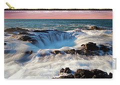 Carry-all Pouch featuring the photograph Thor's Well Central Coast Oregon Sunset V4 by Rospotte Photography