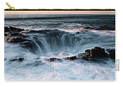 Carry-all Pouch featuring the photograph Thor's Well Sunset 101818 by Rospotte Photography