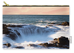 Carry-all Pouch featuring the photograph Thor's Well Sunset 1115 by Rospotte Photography