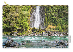 Carry-all Pouch featuring the photograph Thunder Creek Falls - New Zealand by Steven Ralser