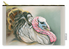 Carry-all Pouch featuring the pastel Tom Turkey Portrait by MM Anderson
