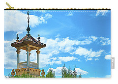 Carry-all Pouch featuring the photograph Towers And Blue Sky From Montjuic In Barcelona by Eduardo Jose Accorinti