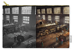 Carry-all Pouch featuring the photograph Train - Repair - Third Door On The Right 1942 - Side By Side by Mike Savad
