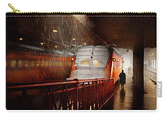Carry-all Pouch featuring the photograph Train - Retro - Last Train Of The Day 1943 by Mike Savad