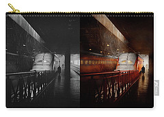 Carry-all Pouch featuring the photograph Train - Retro - Last Train Of The Day 1943 - Side By Side by Mike Savad