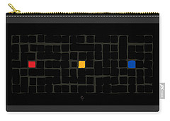 Carry-all Pouch featuring the digital art Tricolor In Black by Attila Meszlenyi