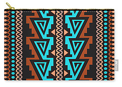 Turquoise Triangle Pattern Carry-all Pouch