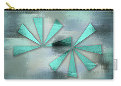 Turquoise Triangles On Blue Grey Backdrop Carry-all Pouch