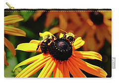 Carry-all Pouch featuring the photograph Two Bees by Meta Gatschenberger