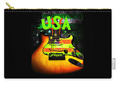 Usa Strat Guitar Music Green Theme Carry-all Pouch