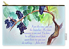 Vine And Branch With Scripture - Vertical Carry-all Pouch