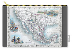 Vingage Map Of Texas, California And Mexico Carry-all Pouch