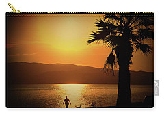Carry-all Pouch featuring the photograph Walking Down The Beach by Milena Ilieva