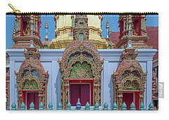 Carry-all Pouch featuring the photograph Wat Ban Kong Phra That Chedi Base Dthlu0502 by Gerry Gantt