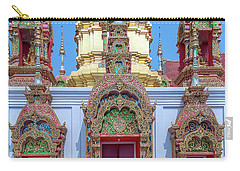 Carry-all Pouch featuring the photograph Wat Ban Kong Phra That Chedi Windows Dthlu0503 by Gerry Gantt