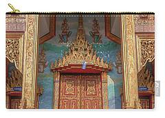 Carry-all Pouch featuring the photograph Wat Nong Tong Phra Wihan Doors Dthcm2642 by Gerry Gantt