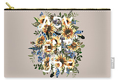 Carry-all Pouch featuring the painting Watercolour Sunflowers Adventure Typography by Georgeta Blanaru