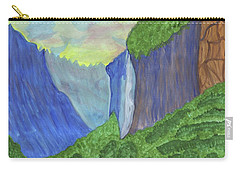 Carry-all Pouch featuring the painting Waterfall In The Mountains by Dobrotsvet Art