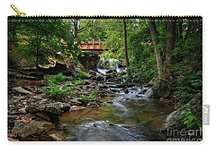 Carry-all Pouch featuring the photograph Waterfall With Wooden Bridge by Joe Sparks