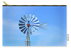Carry-all Pouch featuring the photograph West Texas Windmill A9718 by Mas Art Studio