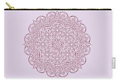 Carry-all Pouch featuring the digital art Whimsical Burgundy Mandala by Georgeta Blanaru
