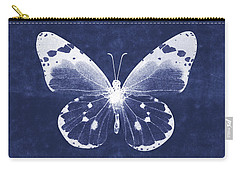White And Indigo Butterfly 1- Art By Linda Woods Carry-all Pouch