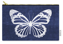 White And Indigo Butterfly 3- Art By Linda Woods Carry-all Pouch