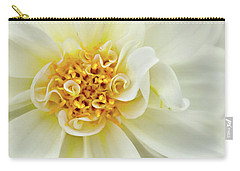 Carry-all Pouch featuring the photograph White Dahlia Curls by Mary Jo Allen