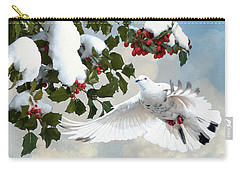 White Dove And Holly Carry-all Pouch