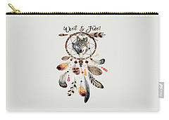 Carry-all Pouch featuring the mixed media Wild And Free Wolf Spirit Dreamcatcher by Georgeta Blanaru