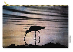 Carry-all Pouch featuring the photograph Willet At Sunset by John Rodrigues