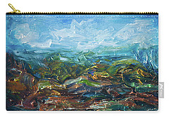Carry-all Pouch featuring the painting Windy Day In The Grassland. Original Oil Painting Impressionist Landscape. by OLena Art Brand