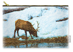 Winter Elk By River Carry-all Pouch