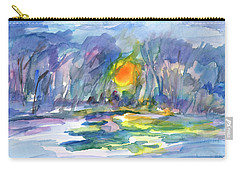 Carry-all Pouch featuring the painting Winter Morning Landscape by Dobrotsvet Art