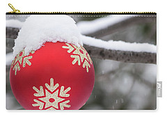 Carry-all Pouch featuring the photograph Winter Scene - Red Christmas Ball Outside, With Snow On It by Cristina Stefan